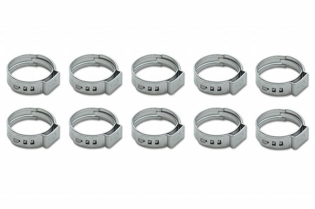 Stainless Steel Pinch Cl amps: 7.8-9.5mm 10 Pack
