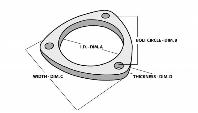 3-Bolt Stainless Steel Flanges 2.5In I.D.