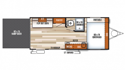 2018 Wildwood X-Lite FSX SERIES 180RT Floor Plan
