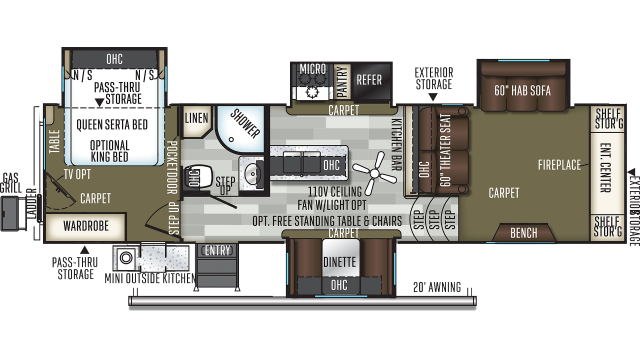 2020 Flagstaff Classic Super Lite 8529FLS Floor Plan