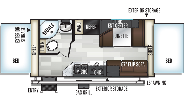 2020 Flagstaff Shamrock 19 Floor Plan