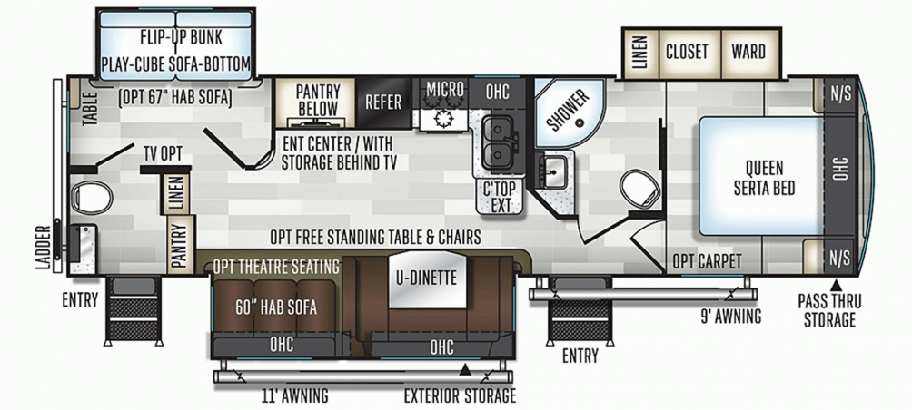 2020 Flagstaff Super Lite 29BDS Floor Plan Img