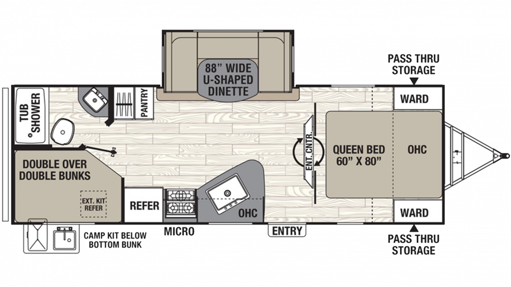 2019 Freedom Express Ultra Lite 257BHS Floor Plan Img
