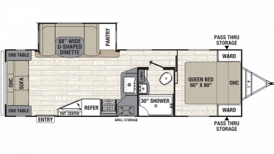 2019 Freedom Express Ultra Lite 279RLDS Floor Plan Img