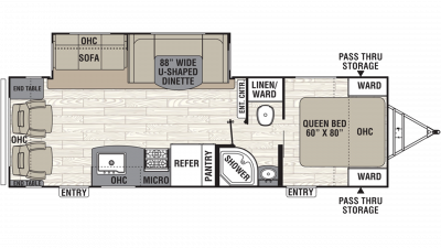 2019 Freedom Express Ultra Lite 281RLDS Floor Plan Img