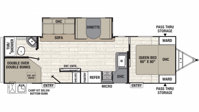 2019 Freedom Express Ultra Lite 287BHDS Floor Plan Img