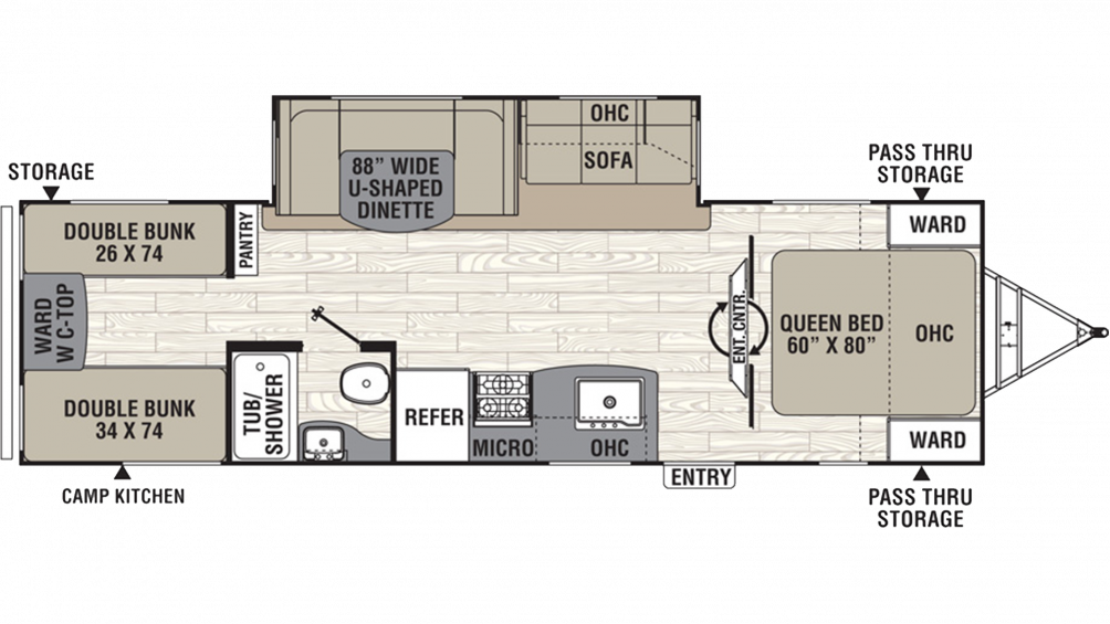2019 Freedom Express Ultra Lite 292BHDS Floor Plan Img