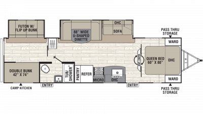 2019 Freedom Express Ultra Lite 310BHDS Floor Plan Img