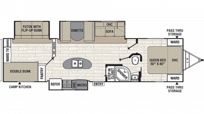 2019 Freedom Express Ultra Lite 320BHDS Floor Plan Img