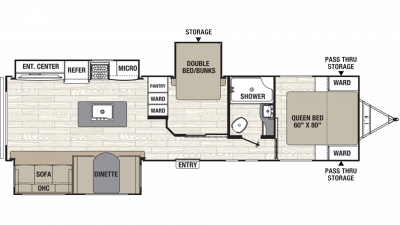 2019 Freedom Express Ultra Lite 323BHDS Floor Plan Img