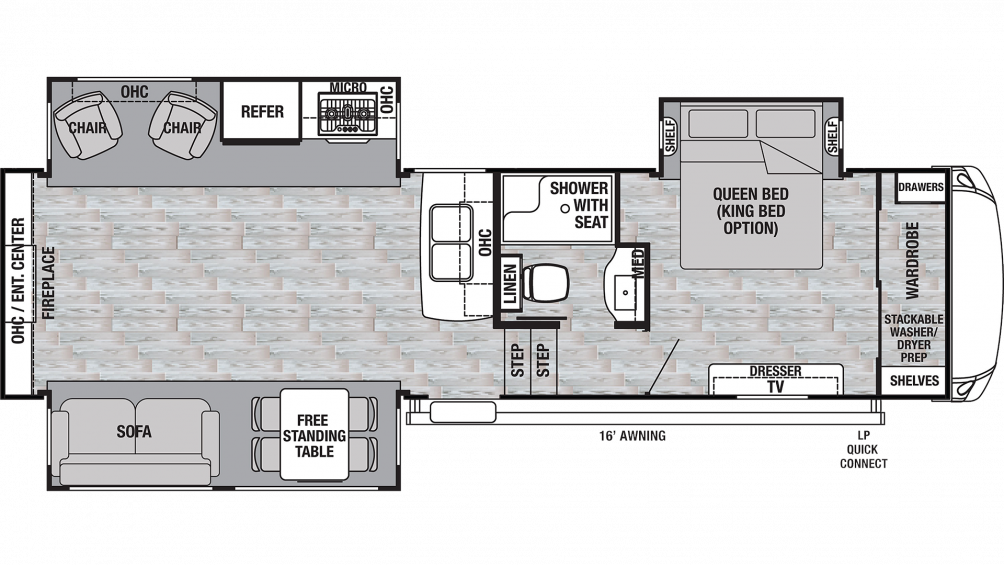 2019 Cedar Creek Silverback 29RE Floor Plan Img