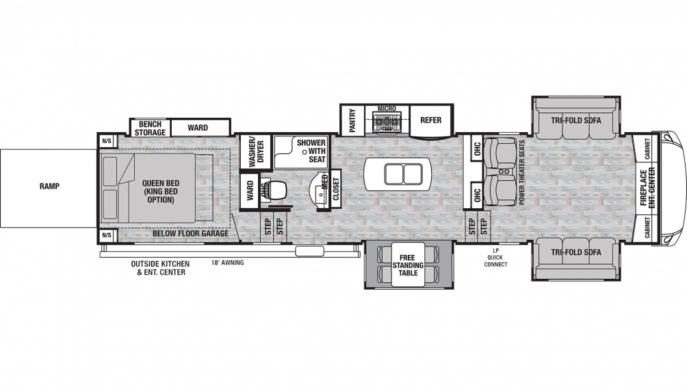 2019 Cedar Creek Silverback 37RTH Floor Plan Img