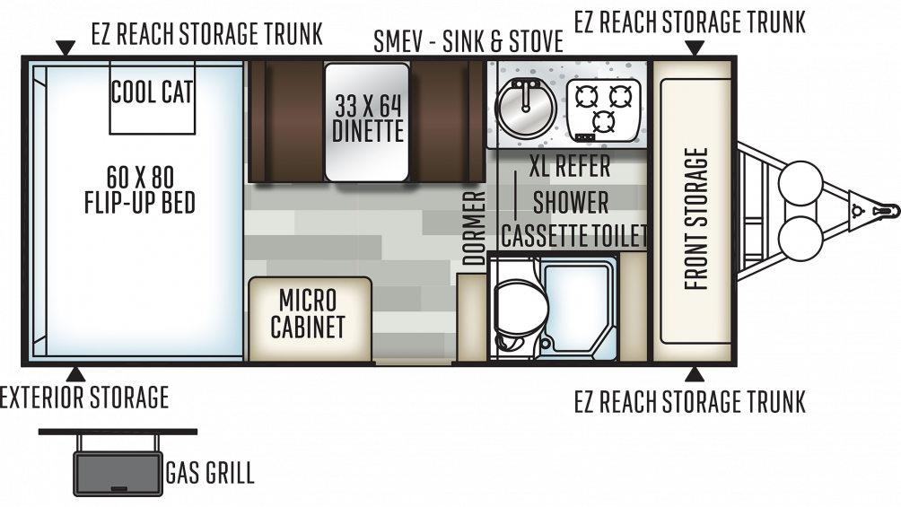 2019 Flagstaff Hard Side 21DMHW Floor Plan Img
