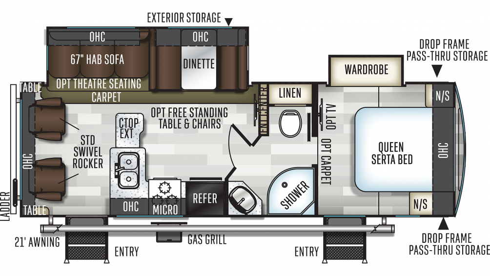 2019 Flagstaff Super Lite 26RLWS Floor Plan Img