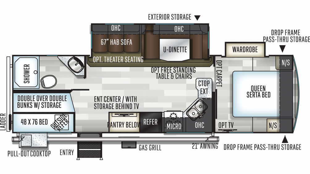 2019 Flagstaff Super Lite 27BHWS Floor Plan Img