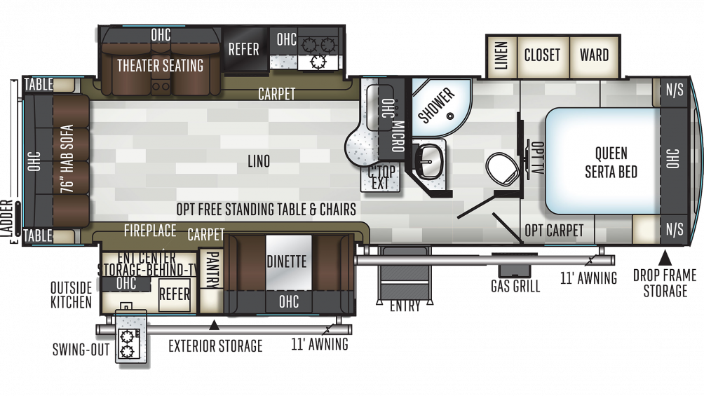 2019 Flagstaff Super Lite 29RSWS Floor Plan Img