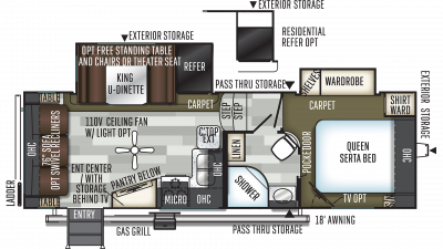 2019 Flagstaff Super Lite 524LWS Floor Plan Img