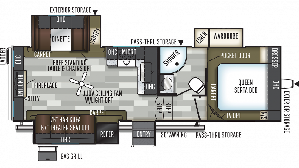 2019 Flagstaff Super Lite 526RLWS Floor Plan Img