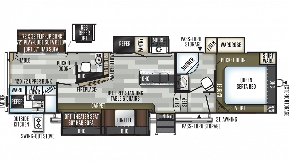 2019 Flagstaff Super Lite 529RBS Floor Plan Img