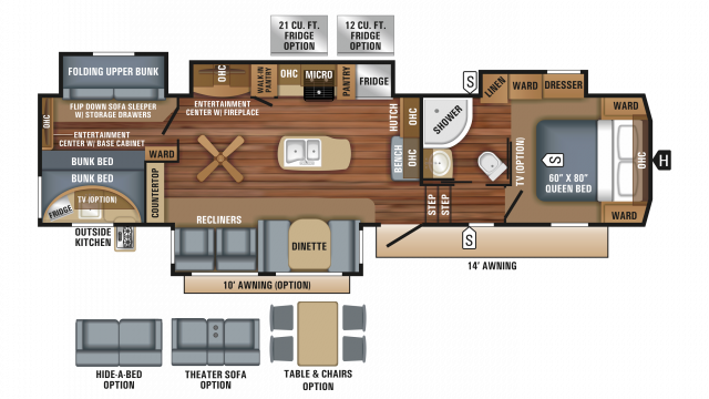 2018 Eagle 325BHQS Floor Plan