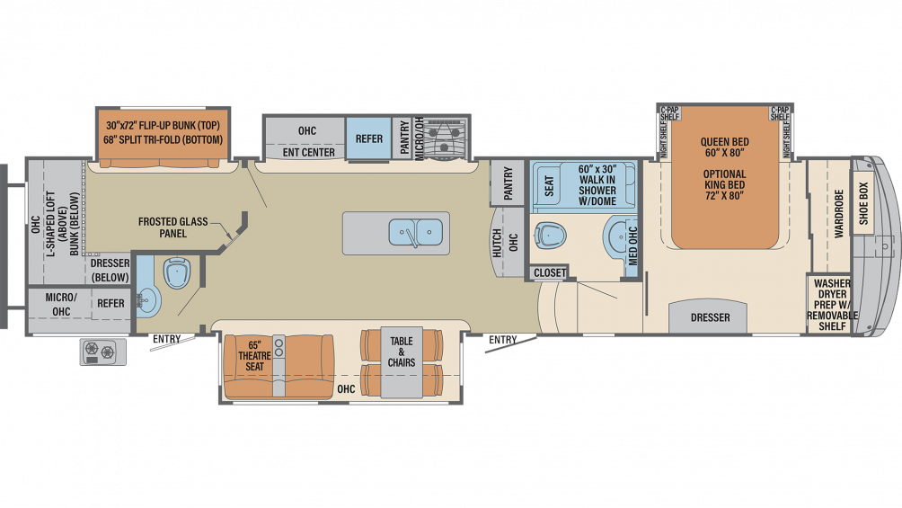 2019 Columbus Compass Series 374BHC Floor Plan Img