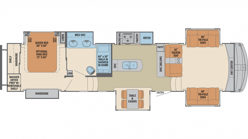 2019 Columbus Compass Series 389FLC Floor Plan Img