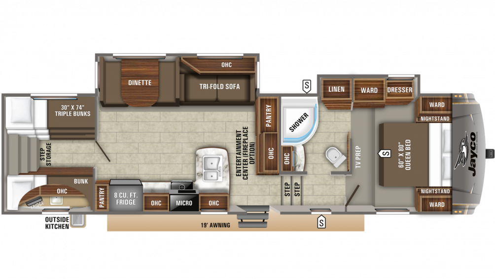 2019 Eagle HT 29.5BHOK Floor Plan Img