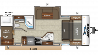 2019 Jay Feather 24BHM Floor Plan Img