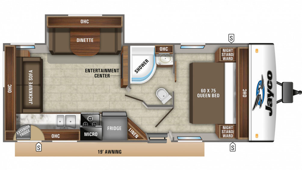 2019 Jay Feather 24RL Floor Plan Img