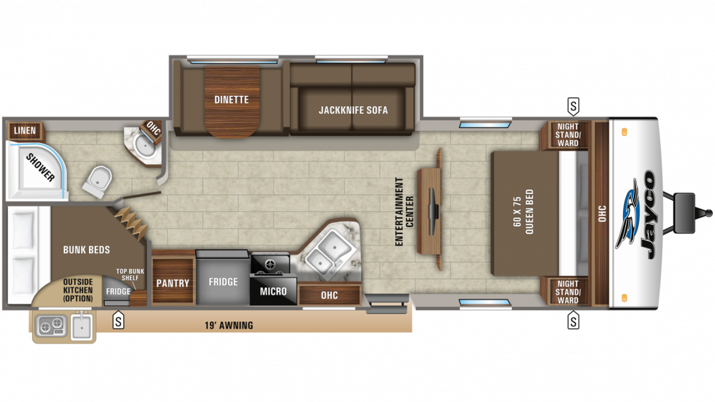 2019 Jay Feather 27BH Floor Plan Img