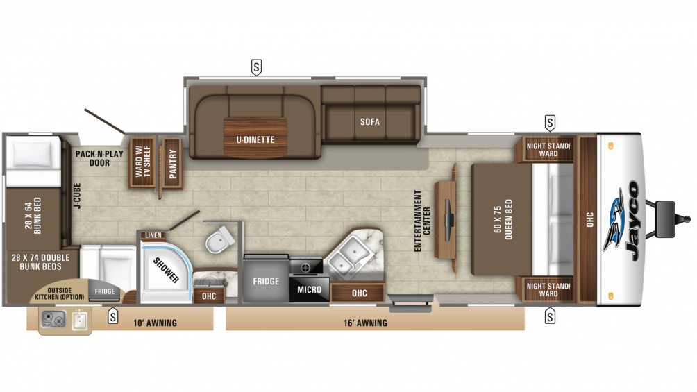 2019 Jay Feather 29QB Floor Plan Img
