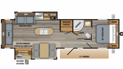 2019 Jay Flight 32RLOK Floor Plan Img