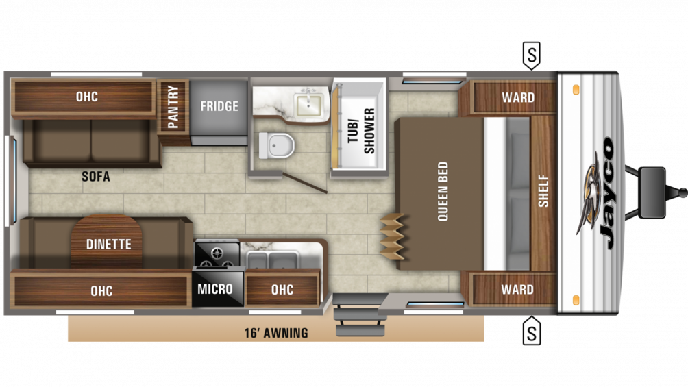 2019 Jay Flight SLX 212QB Floor Plan Img