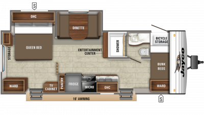 2019 Jay Flight SLX 244BHS Floor Plan Img