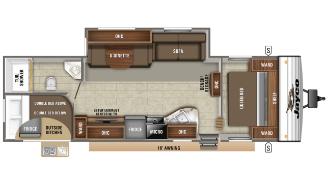 2019 Jay Flight SLX 284BHS Floor Plan