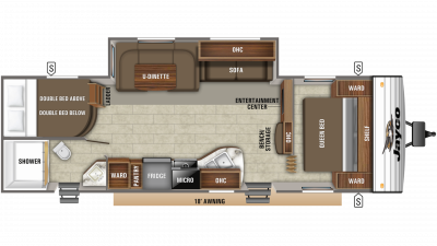 2019 Jay Flight SLX 287BHS Floor Plan Img