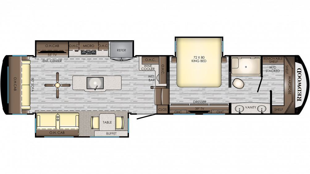 2019 Redwood 3901WB Floor Plan Img