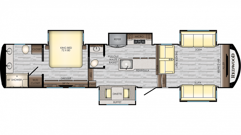 2019 Redwood 3951MB Floor Plan Img