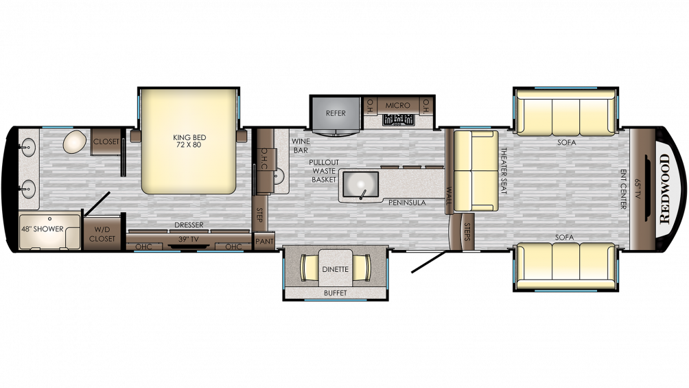 2019 Redwood 395WB Floor Plan Img