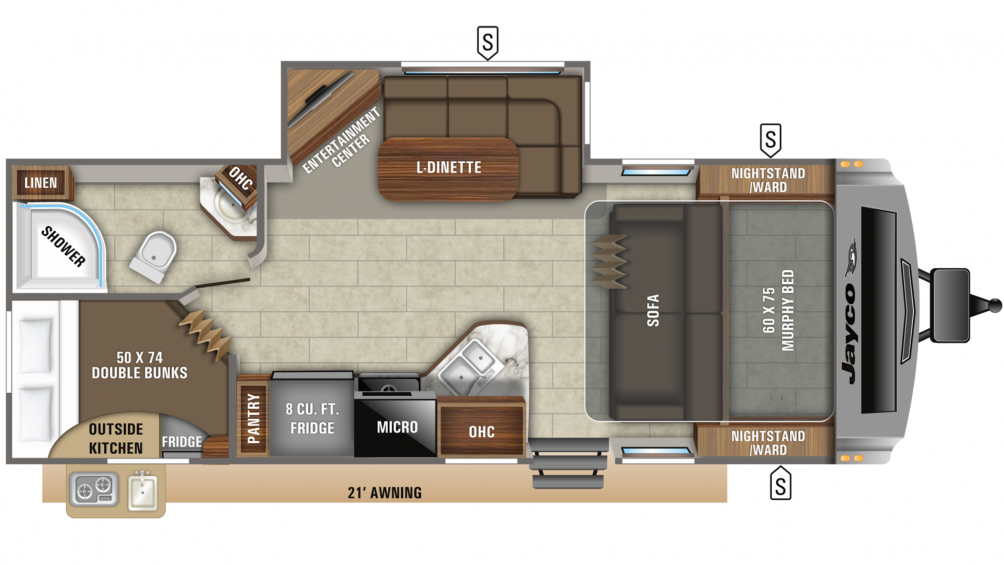 2019 White Hawk 24MBH Floor Plan Img