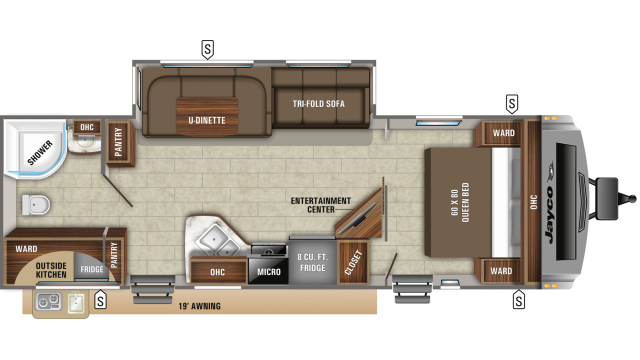2019 White Hawk 27RB Floor Plan