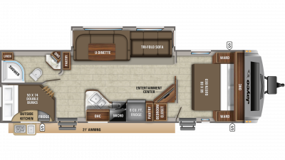 2019 White Hawk 29BH Floor Plan Img