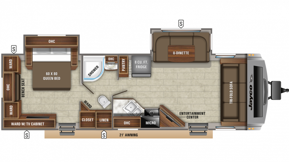 2019 White Hawk 29FLS Floor Plan Img