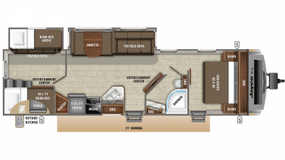 2019 White Hawk 31BH Floor Plan Img