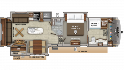 2020 Eagle 336FBOK Floor Plan Img