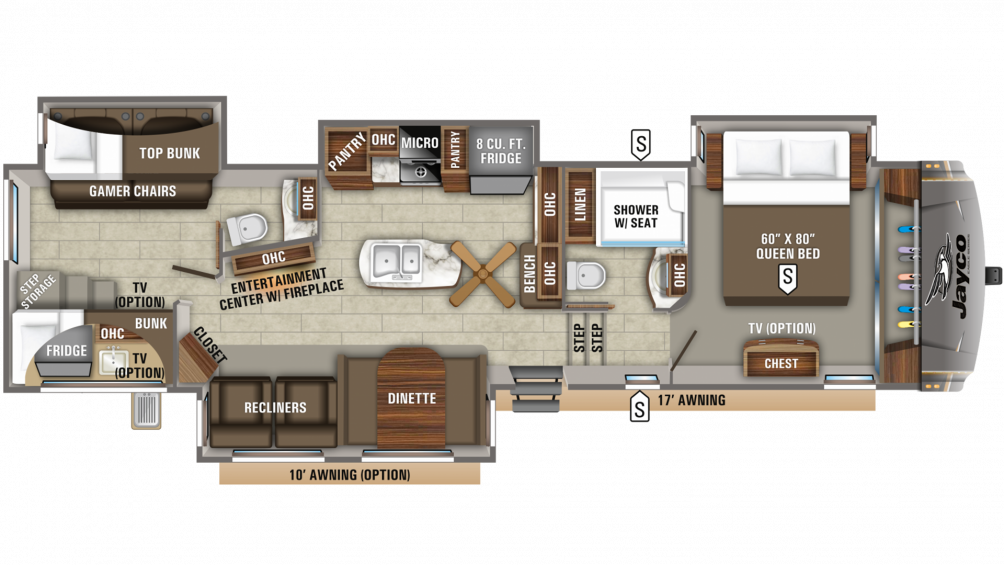 2020 Eagle 347BHOK Floor Plan Img