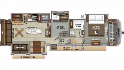 2020 Eagle 355MBQS Floor Plan Img