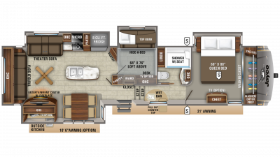 2020 Eagle 357MDOK Floor Plan Img