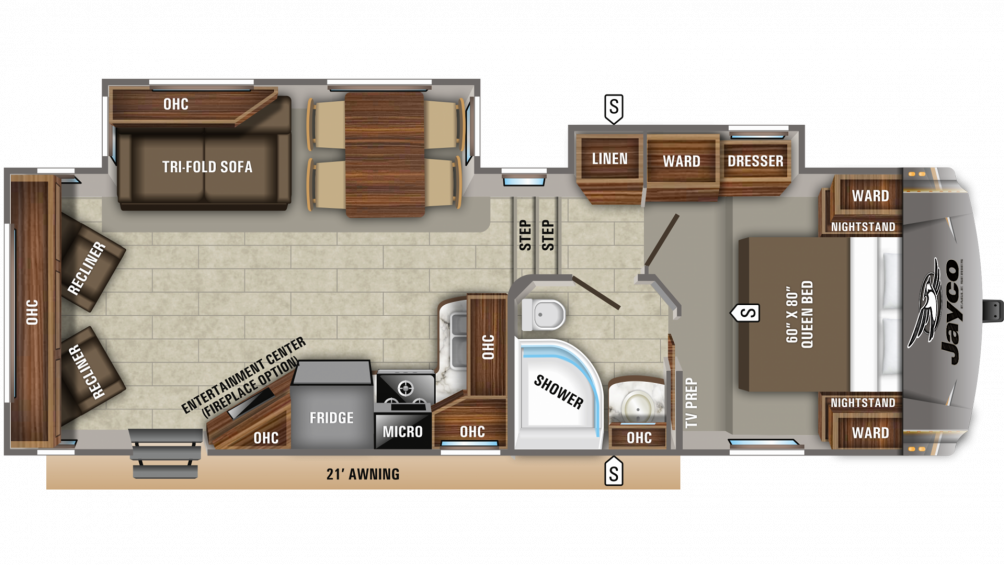 2020 Eagle HT 26.5RLDS Floor Plan Img