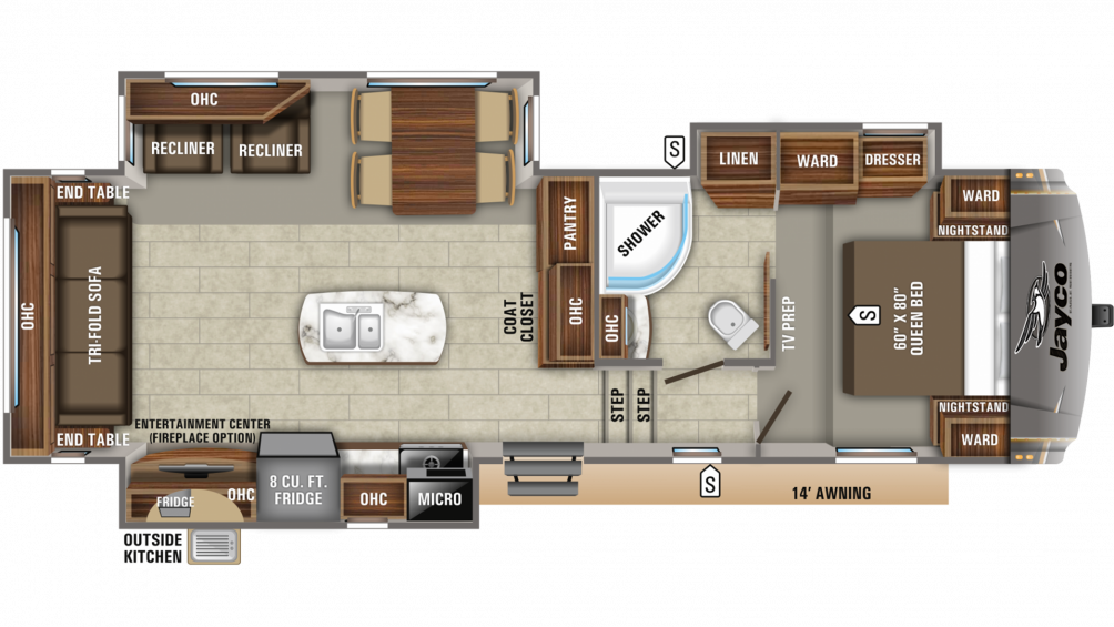 2020 Eagle HT 28.5RSTS Floor Plan Img
